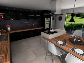 Cozinha com Bancada de Madeira: Armários e bancadas de cozinha  por Rafaela Stedile Arquitetura + Interiores,Moderno