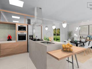Cozinha e Sala de Jantar: Armários e bancadas de cozinha  por Rafaela Stedile Arquitetura + Interiores,Moderno
