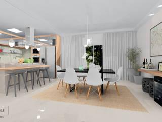 Cozinha e Sala de Jantar: Salas de jantar  por Rafaela Stedile Arquitetura + Interiores,Moderno
