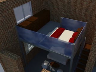 Dormitorio en entrepiso: Dormitorios de estilo industrial por Arq. Melisa Cavallo