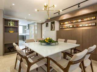 Flávia Kloss Arquitetura de Interiores 餐廳 MDF Amber/Gold