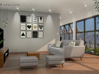 Salas de estar minimalistas por Fabio Mimaki Arquitetura Minimalista