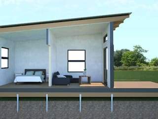 R660 015 (2 bedroom & 1 bathroom) Modular modern house - available to the local and export market.:  Houses by Greenpods