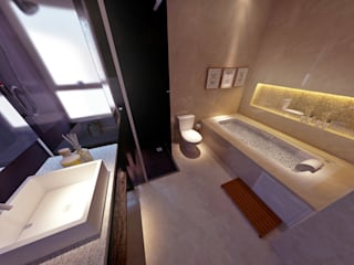 Suíte Refúgio: Banheiros  por Atelier Bach,Moderno