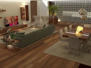 A intemporalidade de uma sala integrada...: Salas de estar  por Casactiva Interiores