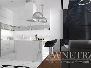 salon z aneksem kuchennym: styl , w kategorii  zaprojektowany przez Pracownia Projektowa Jamuła Sławomir
