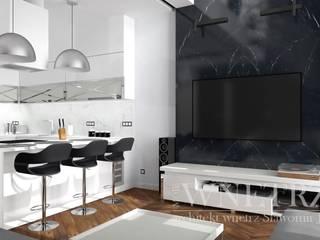 salon zaneksem kuchennym: styl , w kategorii  zaprojektowany przez Pracownia Projektowa Jamuła Sławomir