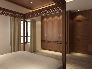 The Circular Courtyard House:  Bedroom by S Squared Architects Pvt Ltd.