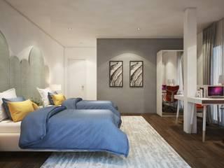 ห้องนอนสไตล์โมเดิร์น:   by Luxxri Design