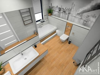 Łazienka w domu w Kartuzach: styl , w kategorii Łazienka zaprojektowany przez AKAart Pracownia Projektowa,