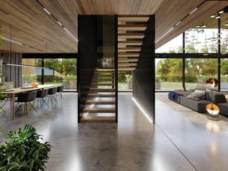 Ristrutturazione Ingresso e sale relax per ufficio aVancouver: Scale in stile  di Atelier116, Moderno