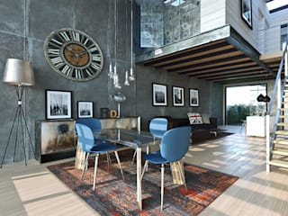 Loft a Milano: Sala da pranzo in stile  di Atelier116, Industrial