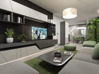 parete tv: Soggiorno in stile in stile Moderno di studiosagitair