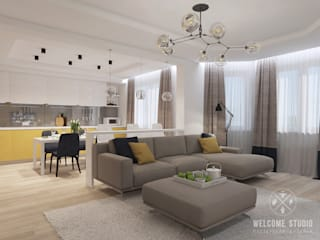 minimalistic Living room by Мастерская дизайна Welcome Studio