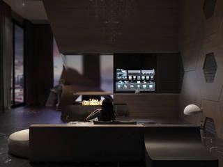 Интерьер гостиной в вечернее время: Гостиная в . Автор – грИГОРЬев
