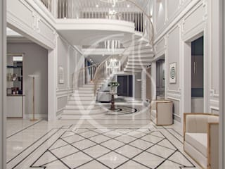 Contemporary Classic Villa Interior Design Classic style corridor, hallway and stairs by Comelite Architecture, Structure and Interior Design Classic