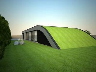 A cobertura em contacto com o jardim: Moradias  por Atelier 72 - Arquitetura, Lda