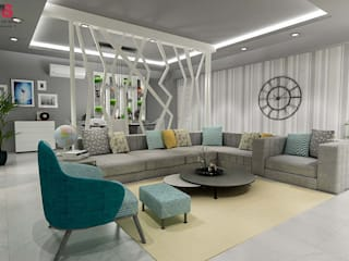 LIVING AND DINING AREA DESIGN (NEW TOWN HEIGHTS):  Living room by Matter Of Space Pvt. Ltd.