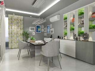 LIVING AND DINING AREA DESIGN (NEW TOWN HEIGHTS):  Dining room by Matter Of Space Pvt. Ltd.