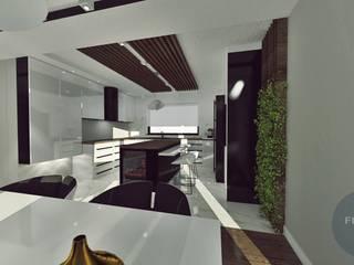 Czarno - biała kuchnia Minimalistyczna kuchnia od Fusion- projektowanie i aranżacja wnetrz Minimalistyczny