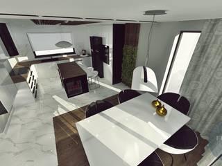 Czarno - biała kuchnia Nowoczesna kuchnia od Fusion- projektowanie i aranżacja wnetrz Nowoczesny