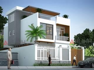 Mẫu thiết kế biệt thự phố 2 tầng đơn giản trên nền đất không quá rộng:   by CÔNG TY THIẾT KẾ XÂY DỰNG AN LĨNH