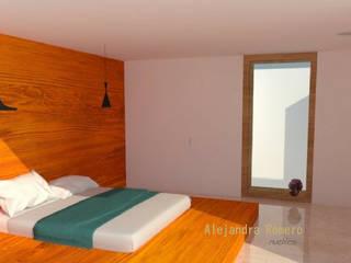 Interior de casa habitación: Recámaras de estilo  por  Alejandra Romero Arquitectura