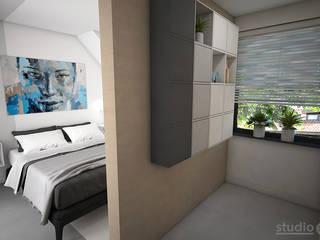 Interieurontwerp 3D impressie Slaapkamer met inloopkast:  Slaapkamer door Studio-em