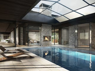 Dom z basenem pod Skierniewicami 580m2 Nowoczesny basen od TISSU Architecture Nowoczesny