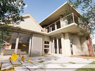 Property Commerce Architects Modern balcony, veranda & terrace