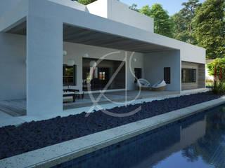 Minimal Villa Exterior Design minimalist style balcony, porch & terrace by Comelite Architecture, Structure and Interior Design Minimalist