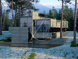 Neocribs Concrete Glass Modern Home Design:  Houses by Comelite Architecture, Structure and Interior Design