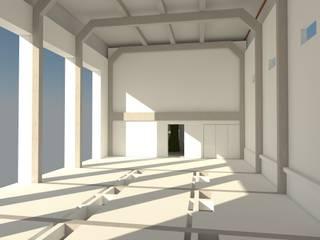 riuso di un capannone industriale: prima dell'intervento: Spazi commerciali in stile  di Simone Fratta Architetto