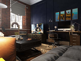 Industrial style study/office by Diveev_studio#ZI Industrial
