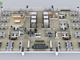 Top Things to 3D Floor Plans of the Sets for The Office by 3d floor design New jersey, USA Yantram Architectural Design Studio Modern