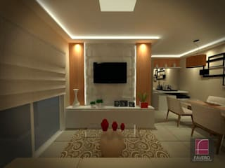 Apartamento F.F. Fávero Arquitetura + Interiores Salas de estar modernas