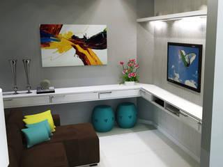 Residência com sala de jantar, estar e home office integrado por Joana Rezende Arquitetura e Arte