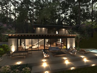 Casa en el bosque: Casas de campo de estilo  por JSM Arquitectos