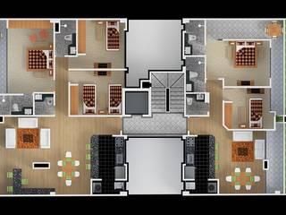 Planta pent houses: Habitaciones de estilo  por MSA Arquitectos
