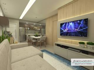 Living room by Arquiteta Jéssica Hoegenn - Arquitetura de Interiores