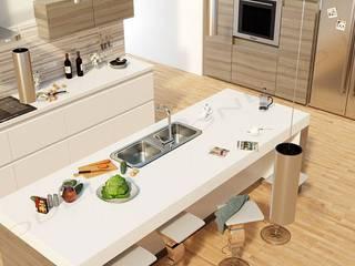 Cucina stile moderno con isola: Cucina in stile in stile Moderno di Modellazione-3d.it
