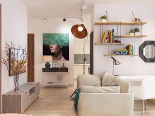 Апартаменты в ЖК «Мосфильмовский» в г. Москва: Гостиная в . Автор – Dinastia Designs