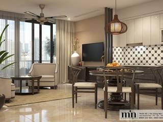 Vinhomes Golden River Apart Phòng khách phong cách tối giản bởi Min Decor Tối giản