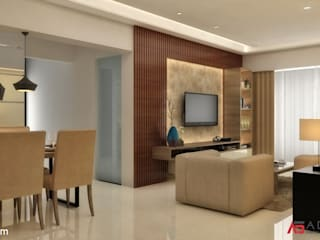 2 BHK AT THANE Minimalist living room by A Design Studio Minimalist