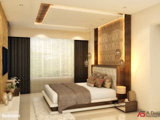 A Design Studio Minimalist bedroom Wood Beige