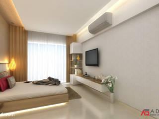 A Design Studio غرفة نوم خشب Beige