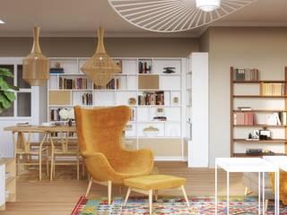 Living-room and dining-room design:  de estilo  de Isabel Gomez Interiors