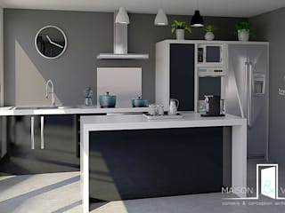Cuisine sur mesure noire et blanche: Cuisine intégrée de style  par MAISON & VOUS