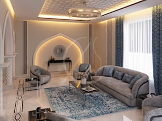 Modern Islamic Home Interior Design:  Living room by Comelite Architecture, Structure and Interior Design