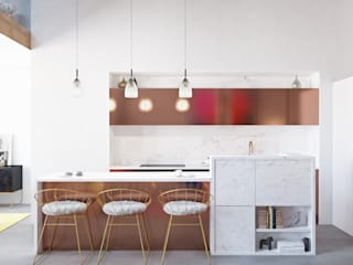 homify Modern kitchen Copper/Bronze/Brass White